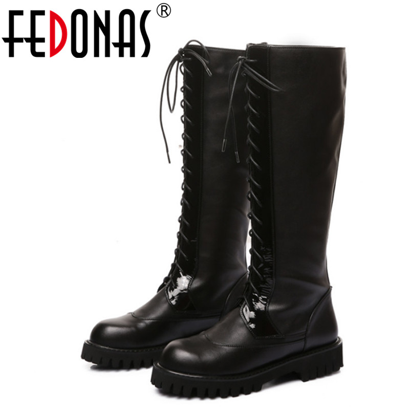 Фото FEDONAS Women Autumn Winter Snow Boots Genuine Leather Motorcycle Boots Knee High Boots Brand Shoes Woman Low Heels Knight Boots