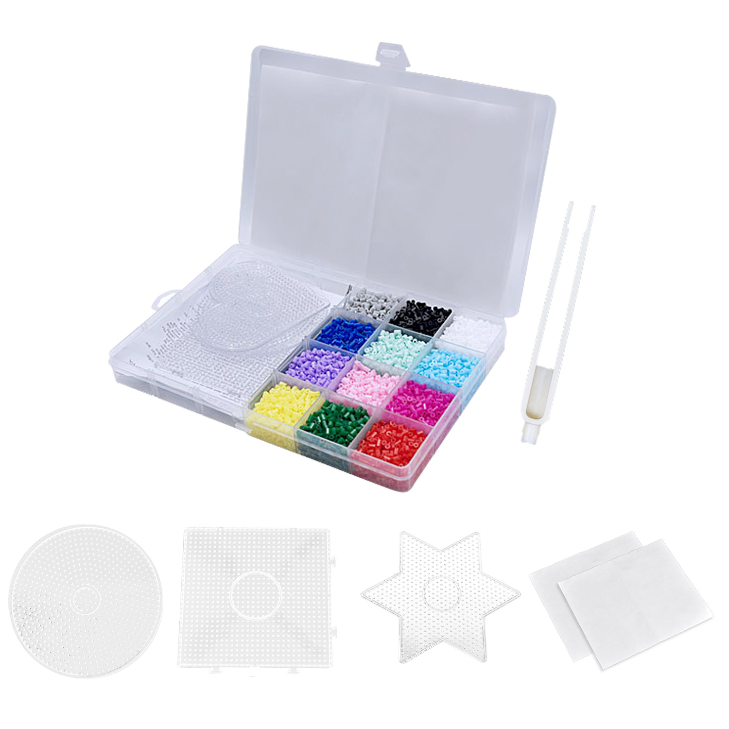 6500pcs 12 Colors Craft Fuse Beads Pegboard Kit 3pcs Pegboards  2pcs Ironing Paper 1pcs Tweezer Kids DIY Art Craft Handcraft Toy