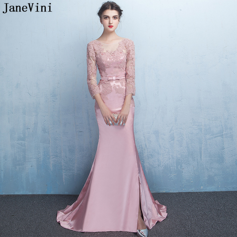 JaneVini Elegant Mermaid Long   Bridesmaid     Dresses   with Sleeves Scoop Neck Appliques Backless 2019 African Satin Formal Prom Gowns