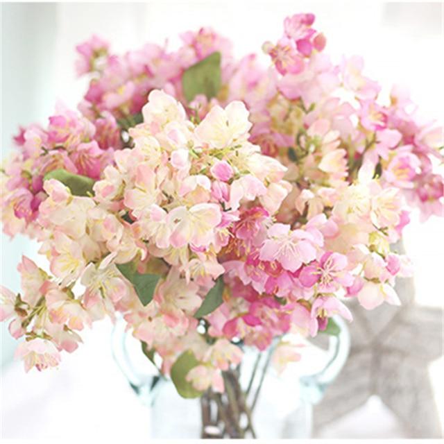 Cherryblossom Artificial Flower Fake Flower Bouquet For Wedding Home ...