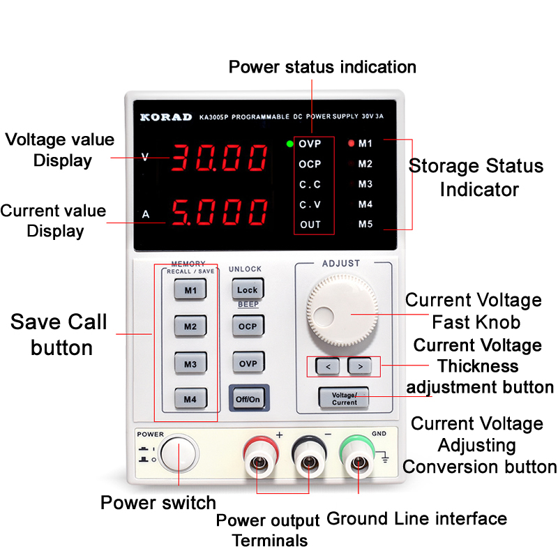 KORAD KA3005D Precision Variable Adjustable DC Power Supply 30V, 5A