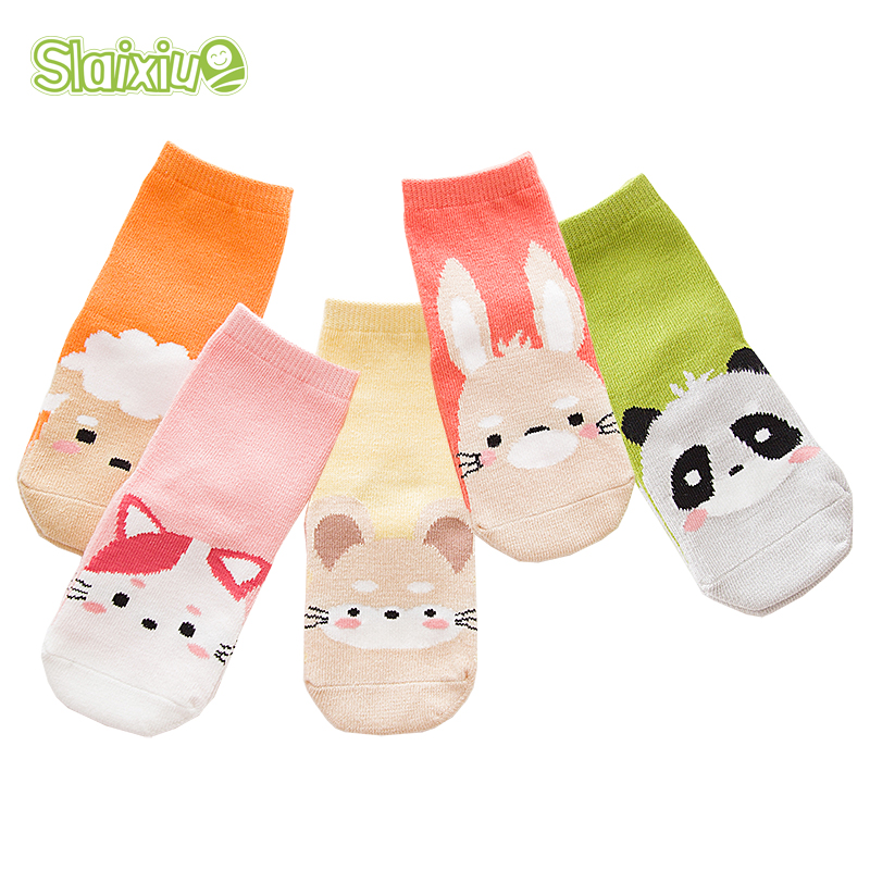 5 Pair/lot Kawaii Pattern Cotton Kids Socks Baby Breathable Boys Girls Socks For Children Sock 5 Kinds Style Suitable For 1-12Y недорого