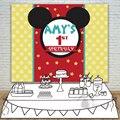 Фоны на день рождения для мальчиков и девочек  детский фон с изображением головы мышки  желтый круг  приглашение на праздник  Allenjoy  на заказ