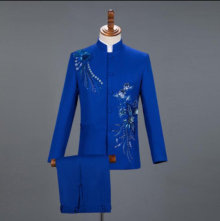6 5 Tunique Paillettes 1 Blazer Chinois Hommes Costumes 3 Montant Vêtements Scène Col Veste 2 Étoiles Noir Danse Robe Costume Style 4 Chanteurs De zq1wAR4x