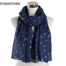 FOXMOTHER New dragonfly Scarf Green Navy Color Foil Gold Animal Print dragonfly Shawl Wrap Scarf Woman 2019 цена