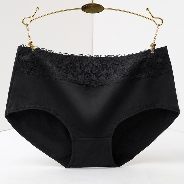 948f7f36 € 1.53 40% de DESCUENTO|100% algodón ropa interior Mujer ropa interior  bragas encaje sólida Calcinhas Lingeries Panty Plus tamaño pantalones ...