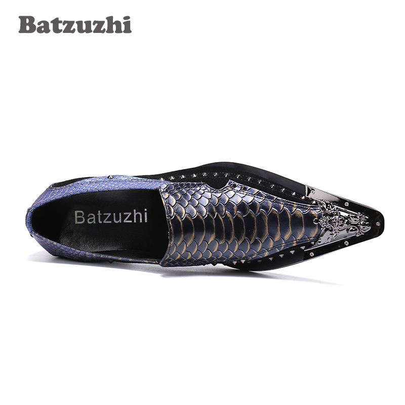 Luxury Handmade Mens Shoes Oxford Leather Shoes Pointed Toe Split Fish Scales Pattern Business Dress Shoes Party Wedding, US12 - 3