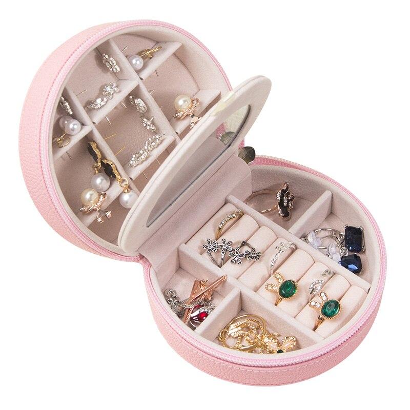 Pink Zipper PU Women Portable Jewelry Box European Three Layers Storage 2018 Girls Cosmetic Casket Jewel Carrying Cases Gift Box