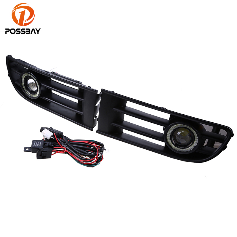 POSSBAY Fit for VW Polo/Derby/Vento-IND 2002-2005 Waterproof LED Fog Light With Lens Halo Angel Eyes Rings Daytime Driving Lamp front bumper fog lamp grille led convex lens fog light angel eyes for vw polo 2001 2002 2003 2004 2005 drl car accessory p364