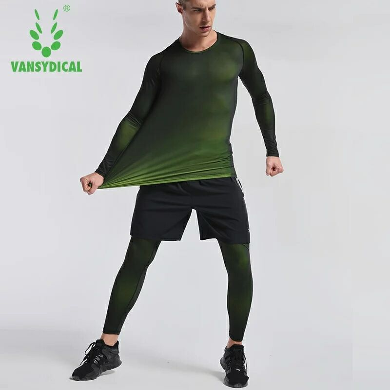 3PCS Compression Quick Dry Tight Tracksuit Men Training Fitness Long Sleeve Shirt Pants Male O Neck Gym Running Set Sport Suit - 3