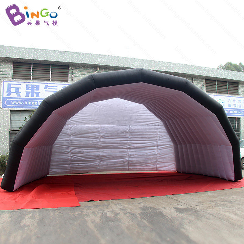 7m wide inflatable stage roof tent for concert/performance/events, black outside white inside outdoor stage cover tent- toy tent black inflatable tunnel 4 4 3m tunnel tent stage tent for children giant inflatable stage cover for sale toys tents