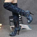 2017 New Fashion Blue Denim Long Boots High Heels Jean Women Shoes Thigh High Boots Vintage Platform Shoes Botines Mujer Autumn