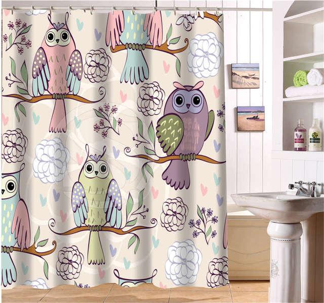 WJY504K22 Custom Cartoon Cute Owl Fabric Modern Shower Curtain Bathroom  Waterproof FY22