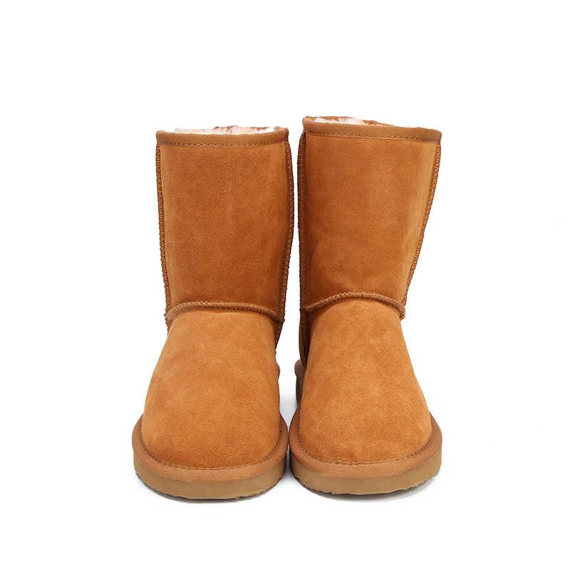 MBR FORCE CLASSIC ของแท้ Cowhide หนังหิมะรองเท้า 100% ขนสัตว์ผู้หญิงรองเท้าอุ่นฤดูหนาวรองเท้าผู้หญิงขนาดใหญ่ 34 -44