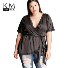 Kissmilk 2018 Plus Size Solid Lace Women Blouses Large Sexy Deep V-neck Brief Female Clothing Up Big Lady Tops
