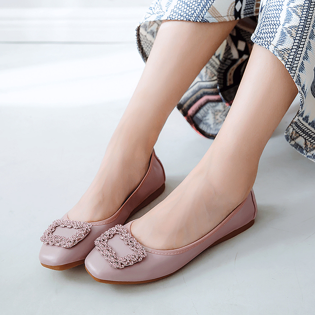 Luxury Brand Spring 2018 Fashion Women Crystal Pink Ballerina Flats Slip On Designer Soft Leather Boat Shoes Mocasines Mujer