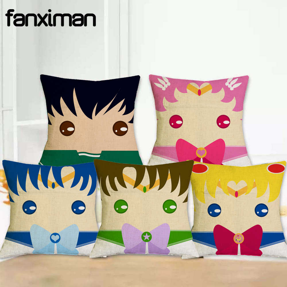Cojines Para Fanximan Linen Cushion Cover Hot Anime Sailor Moon Figures Pillow Covers Home Decoration Throw Pillow Case Cojines Para Sofa