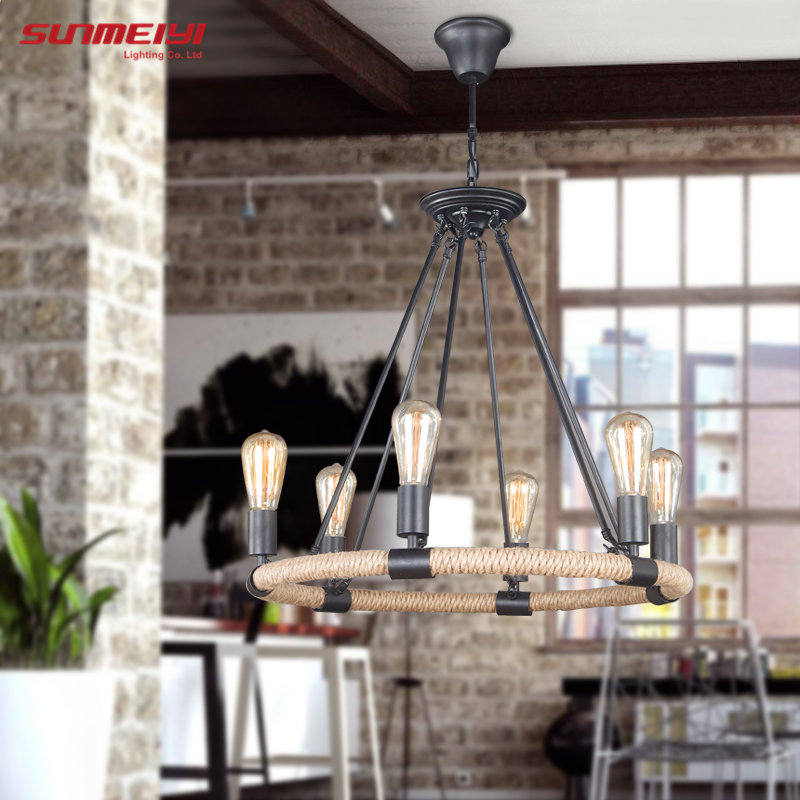 2018 Retro Vintage Rope Pendant Light Lamp Loft Creative Personality Industrial Lamp Edison Bulb American Style For Living Room vintage led pendant lights lamp loft creative personality industrial lamp edison bulb american style for dining room decoration
