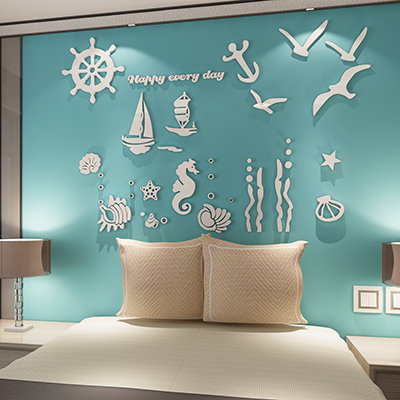 Mediterrane stijl 3D acryl muurstickers versieren kinderkamer eetkamer retro oceaan laser snijden stukken
