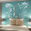 Style méditerranéen 3D acrylique stickers muraux décorer enfants chambre salle à manger rétro océan laser pièces de découpe