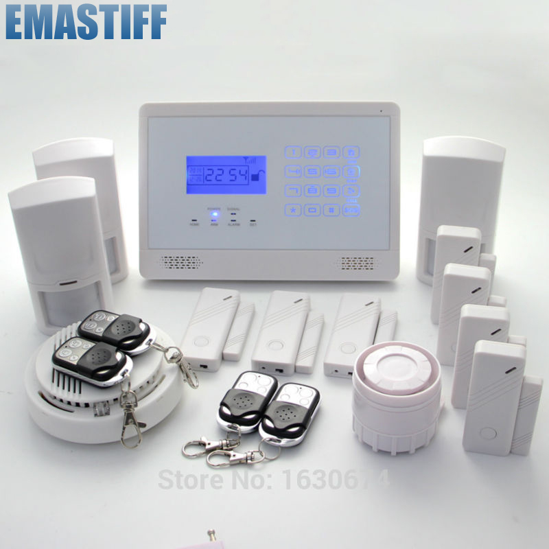 99 wireless zones SMS GSM850/900/1800/1900Mhz burglar alarm panel,home security  GSM alarm system wireless smoke fire detector for wireless for touch keypad panel wifi gsm home security burglar voice alarm system