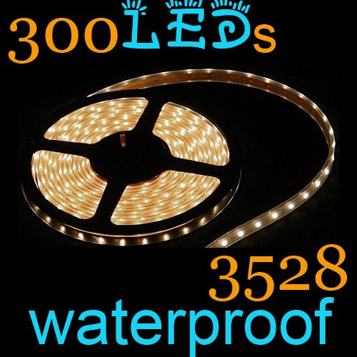 Hot!!!  New Cheap 1Pcs 3528 Warm White LED Strips Flexible Tape Lights 5m 60led/m 300leds Waterproof+Free Shipping