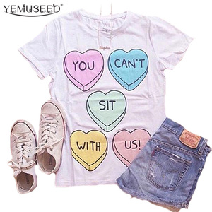 YEMUSEED 2016 New BFF Jazrox TOP White Best Friends Cute Hearts T-shirt Women Tumblr Hipster Cool Tee Shirts WMT219