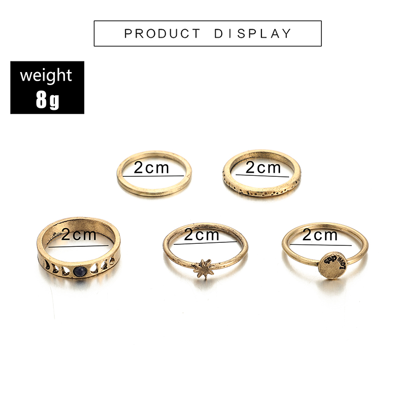 docona Gothic Gold Color Star Hollow Geometric Rings Set for Women Knuckle Midi Ring Engagement Ring Anillos Mujer 3778 in Rings from Jewelry Accessories