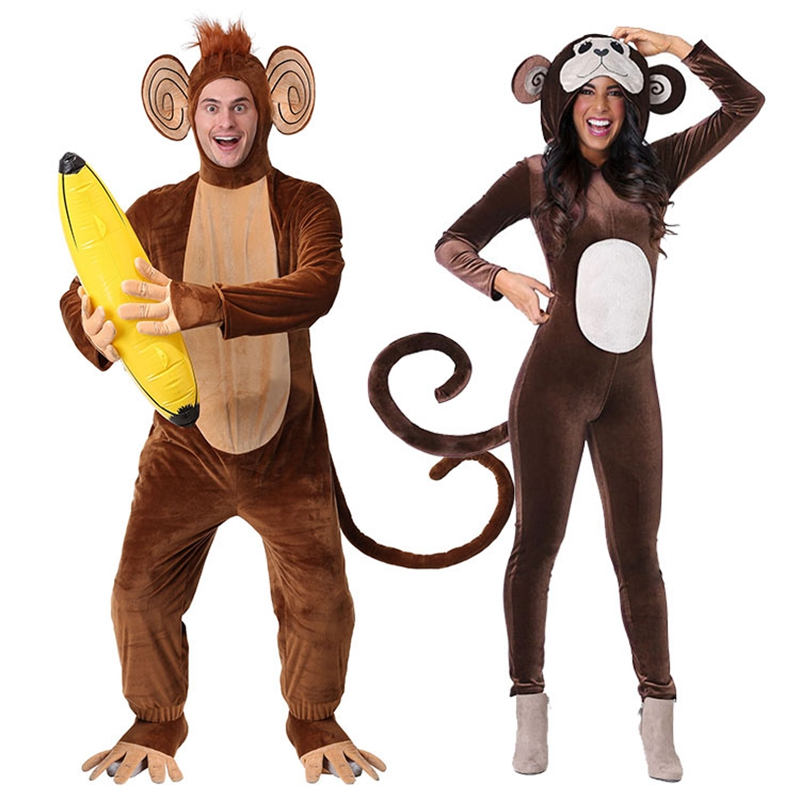 New Brown Monkey Onesie Pajamas Animal Winter Onesie Adults Halloween Banana Cosplay Costume Party Gift For Women