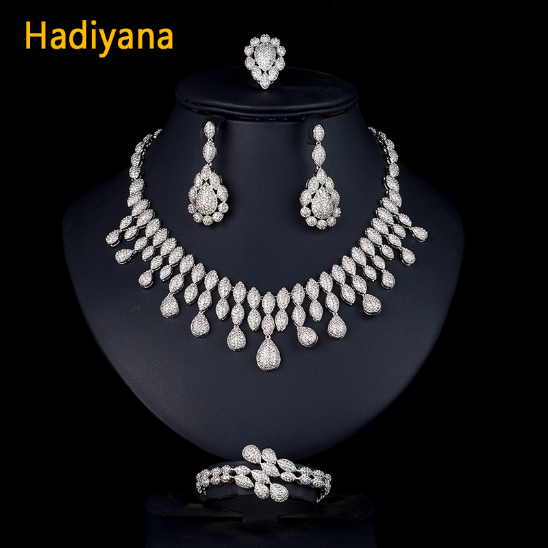 Hadiyana Evening Dress Design Wedding Jewelry 4PCS Set Luxury CZ AAA Zircon Bridal Tassel Necklace Women