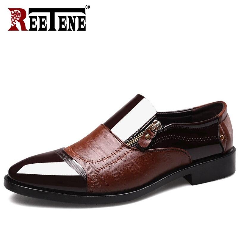 48 Cuir Haute brown En Richelieus Formelle Mariage Qualité Chaussures Black De Grande Sur Taille 38 Reetene Hommes Zipper Robe Slip qpHF1twPw