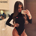GZDL Fashion Black Autumn Skinny Bodysuit Turtleneck Solid Slim Fit Long Sleeve Jumpsuit Sexy Women's Bodysuits Rompers CL3375