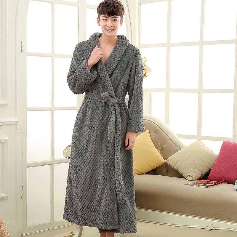 Lovers Extra Long Winter Thick Warm Bath Robe Men Silk Soft Flannel  Bathrobe Mens Dressing Gown 2118a3a03