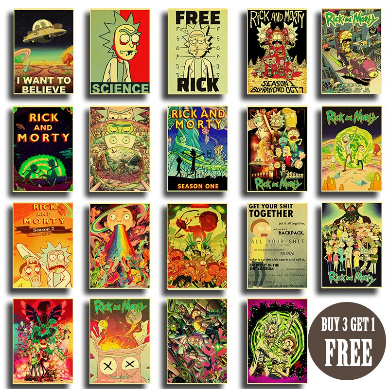 Rick And Morty Series 2 Retro Poster Kraft Paper Vintage Posters Animation Sci-fi Sitcom Art Painting Wall Stickers