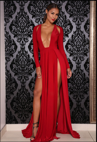 New 2015 Sexy Women Bandage Elegant Long Evening Party Dresses Red