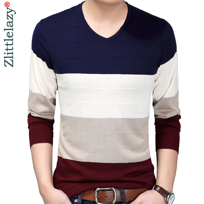 2019 Designer Pullover Striped Men Sweater Dress Thin Jersey Knitted Sweaters Mens Wear Slim Fit Knitwear Fashion Clothing 10024