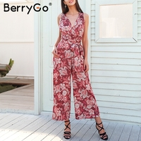 BerryGo Sexy V Neck Floral Print Jumpsuit Women Cross Lace Up Casual Jumpsuit Romper 2018 Loose