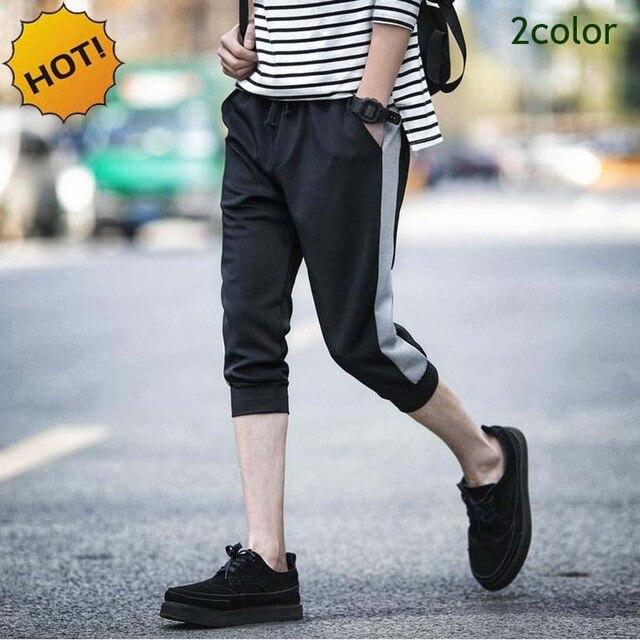 HOT Men 2016 Summer Style Cotton Shadow Capri Pants Boys Stripe Foot beam Joggers Cropped Trousers Students Harem Capri Pants