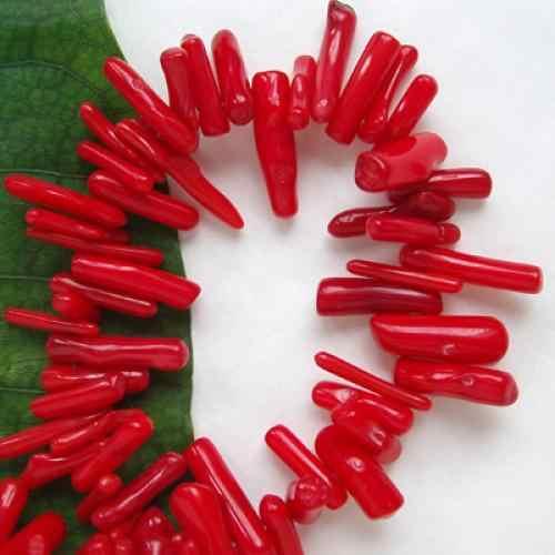9-12mm chipy oddział głębokie czerwone morze bambusowa koralowa czerwień kamień luźne koraliki 16 'kreatywny DIY naszyjnik z koralikami