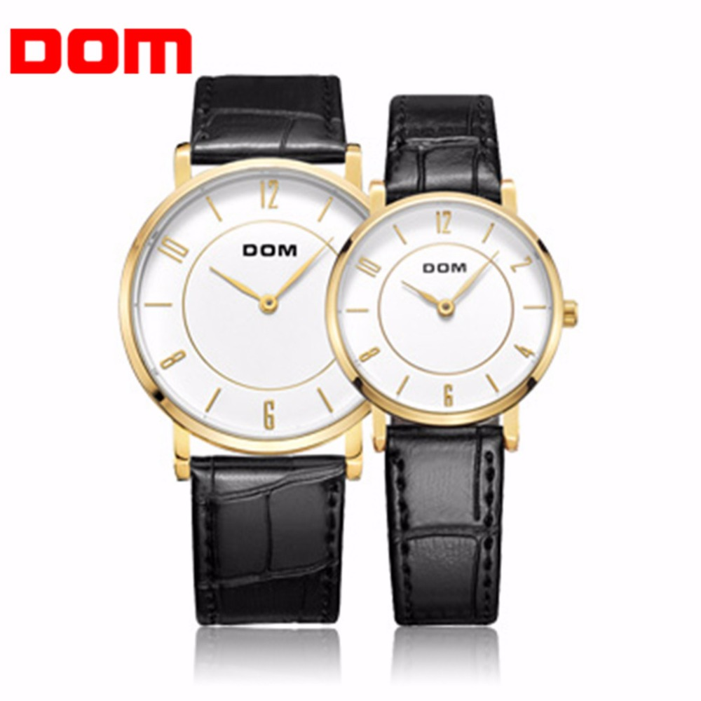 DOM Men Women Lovers Wrist Watch Classic Design Casual Waterproof Style Super Thin PU Leather Strap Quartz Wrist Watches