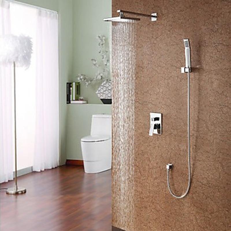 Robinet mural de douche de pluie de salle de bains carrée de 8 pouces avec HG-8110T de douche à main