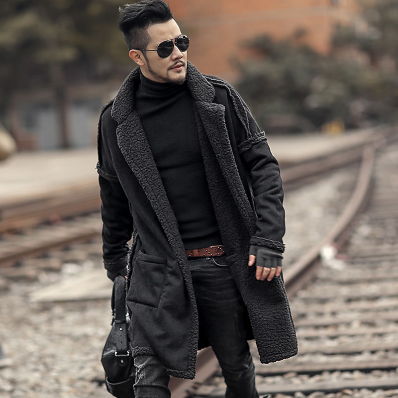 Metrosexual Man New Winter Long Furry Coat Warm Plush Cardigan Men Slim Fashion European Style Black Cotton Cardigan F7099