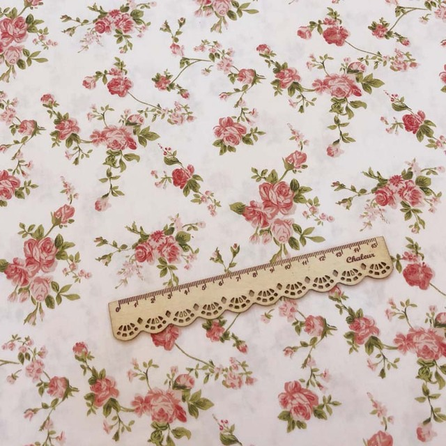 100%Cotton Twill Fabric Pastoral WIHTE Maroon Rose Pink Small Flower FLoral for DIY Handwork Kid Bedding Apparel Dress patchwork