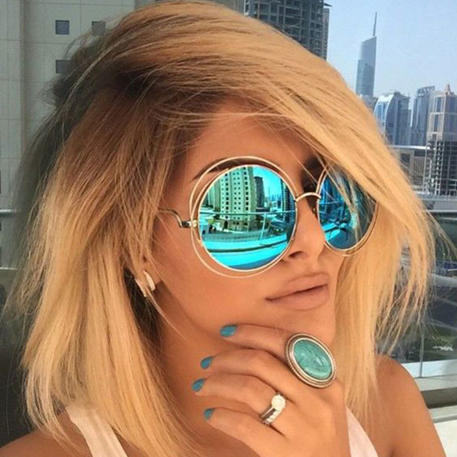 Vintage Round Big Oversized lens Mirror Brand Designer Pink Sunglasses Lady Cool Retro UV400 Women Sun Glasses Female KQW123