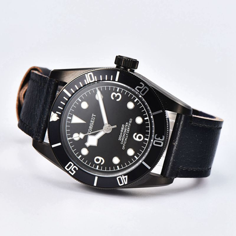 41mm Corgeut black PVD case Sapphire Glass black dial black leather strap water resistant Japan Miyota Automatic men wriswatches corgeut 44mm wristwatches rose gold case white dial coffee leather strap hand winding 6498 water resistant men watches cm2005b