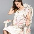 100% Natural Seda Camisones Camisón Femenino Del Verano de Manga Corta Moda Impreso de Satén de Seda de Las Mujeres ropa de Dormir YSNS209