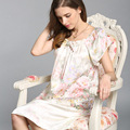 100% Natural Silk Nightdress Female Summer Short Sleeve Nightgowns Fashion Printed Silk Satin Women Sleepwear YSNS209