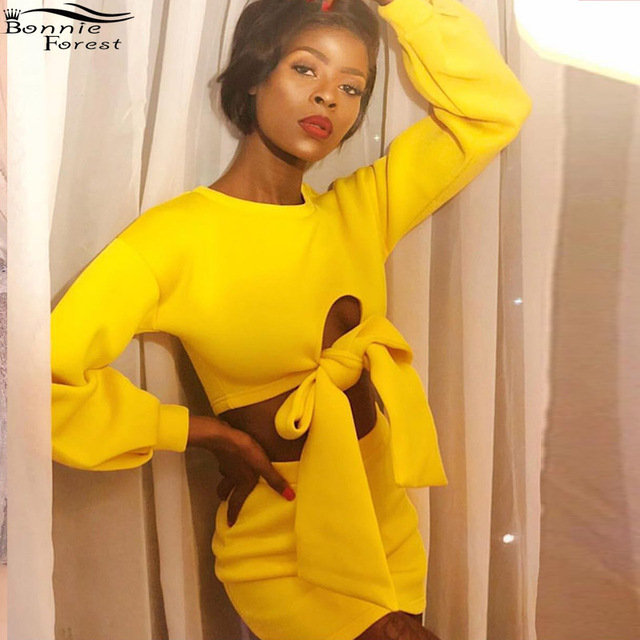 4eb92ad69e US $15.29 10% OFF|Bonnie Forest Sexy 2019 Spring Yellow Tracksuits Fashion  Women Solid Suits Long Sleeve Front Bow Cut Out Top Mini Skirt Sets -in ...