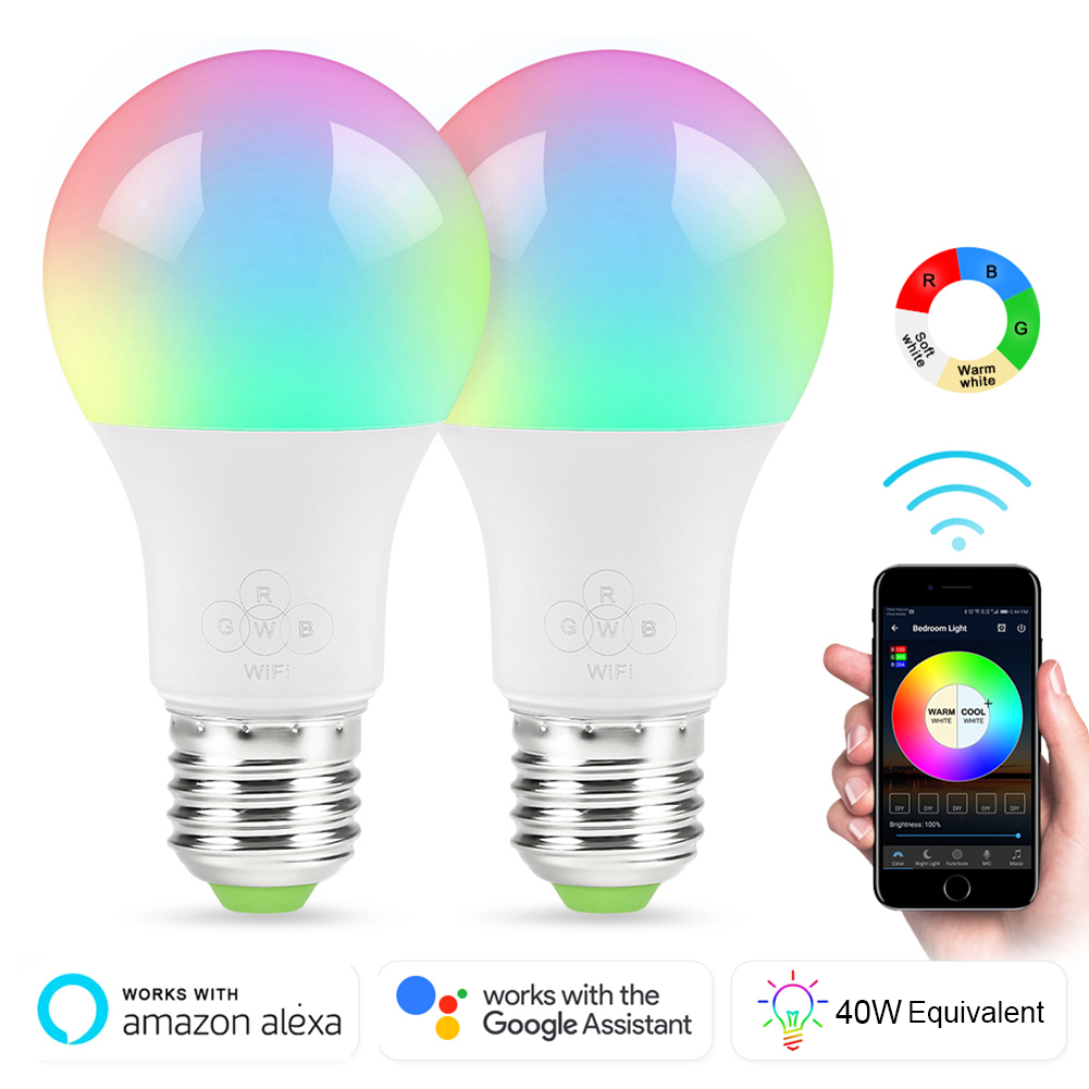E27 Smart WIFI Bulb 7W Dimmable LED Bulb Light Bulb Works With Alexa Google Home Multicolor Wake-Up Lights Remote Control