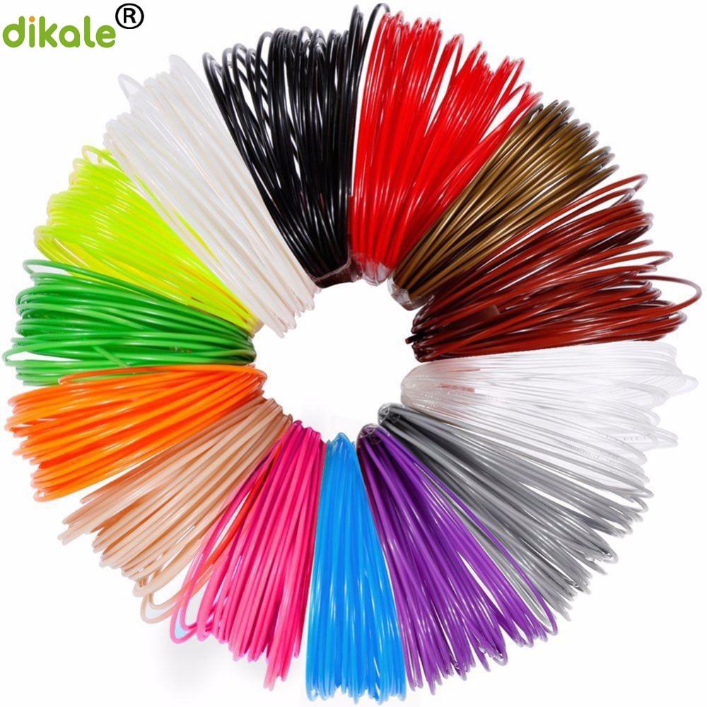 Dikale 3m x 12 colors 3D Printing Material 3D Pen Filament PLA 1.75mm Plastic Refill For 3D Impresora Drawing Printer Pen Pencil